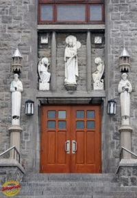 CHURCH DOORS AT OUR LADY OF CZESTOCHOWA CHURCH IN MONTREAL, QUEBEC