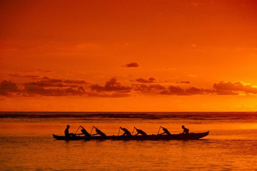 Sunset Paddlers by Joe Carini