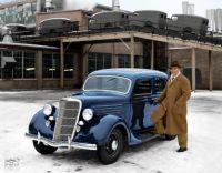 "1935 Ford V8 Deluxe Fordor Sedan with Detroit Lions football player George Washington ""Tarzan"" Christensen."