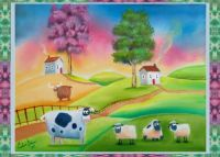 Cow and Sheep Folk art