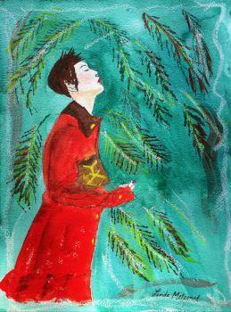 Linda Melemed Art - Girl in a Red Coat