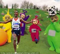 Mo Farah running away from telly tubbies