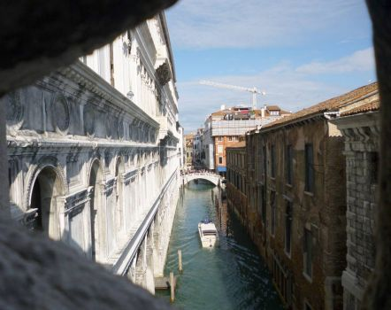 Looking out from the Bridge of Sighs