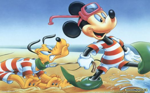 Mickey & Pluto on the Beach