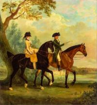 Marcia Pitt and Her Brother George Pitt, Later 2nd Baron Rivers, Riding in the Park at Stratfield Saye House, Hampshire