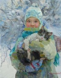Girl with kitten by Elena Salnikova