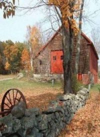 old barn and wagon wheel.