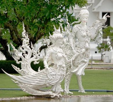 Statues of White Temple, Thailand..