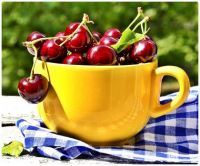 A Yellow Cup of Sweet Red Cherries