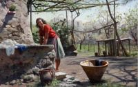 "Peder Mørk Mønsted,  ""A Laundry Maid in Torre del Greco, Italy"", 1925"