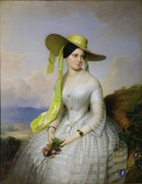 Anton Einsle (1801-1871)   Portrait of a Lady with hat