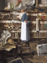 Bibliotheksinterieur mit lesender Magd (Library Interior with Maid Reading)