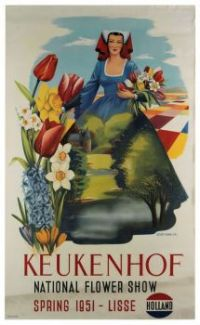 "Themes Vintage Travel posters - ""Keukenhof, National Flower Show, Spring 1951 - Lisse, Holland"""
