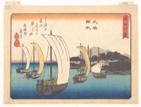 Returning Fishing Boats at Yabase from the series Eight Views of Ōmi (Ōmi hakkei) ca 1834-35