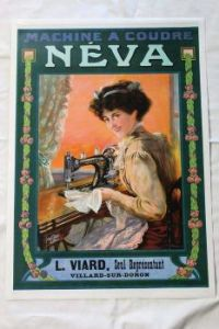 Themes Vintage ads - Nouveau sewing machine ad 'Neva' (France, 1880's)