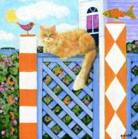 Orange Cat on a Fence on the Hill
