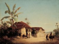 "Camille Pissaro, ""Landscape with Farmhouses and Palm Trees"", 1856"