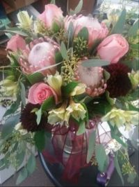 Happiness is..... Pink Roses and Protea Bouquet.