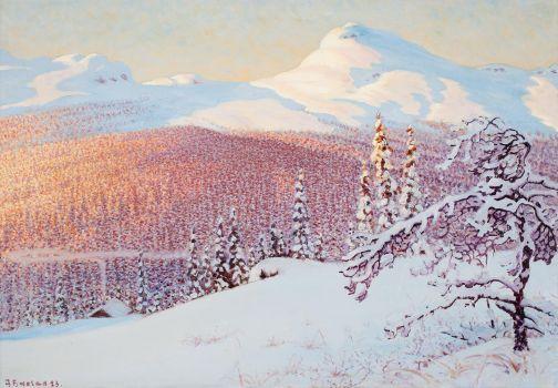 Gustaf Fjaestad,  Landscape in Winter
