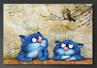 Blue Kitties with Bird by NLKCanvas