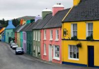 Colorful Houses in Eyeries Village, Ireland.