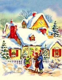 Christmas Visit Vintage Christmas Card