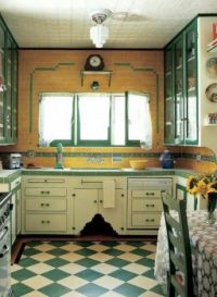 Green and Gold Vintage Kitchen