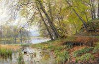 """Peder Mørk Mønsted,  """"Trees by a Pond"""""""