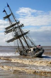 OOPS - Tall ship Irving Johnson grounded near the entrance to Channel Islands Harbor, Oxnard, California