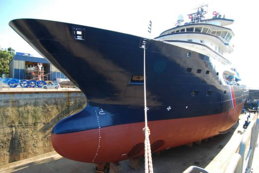 Abeille Languedoc (ocean-going tug) in dry dock!