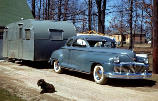 !948 DeSoto Club Coupe, camper and dog