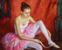 Ballerina with Pink Tutu- The Green Gallery