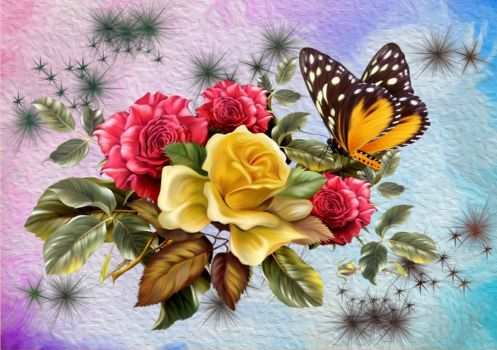 Butterfly Among Roses
