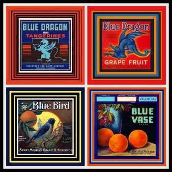 """Vintage Fruit Crate Labels """"BLUE"""""""