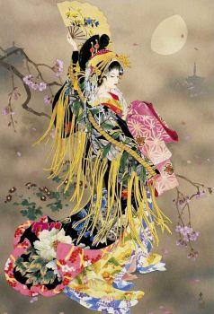 日本仕女圖 : Chinese Painting of a Japanese 芸者 GeiSha