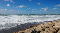 Coral Bay at Paphos, Cyprus, on a windy day