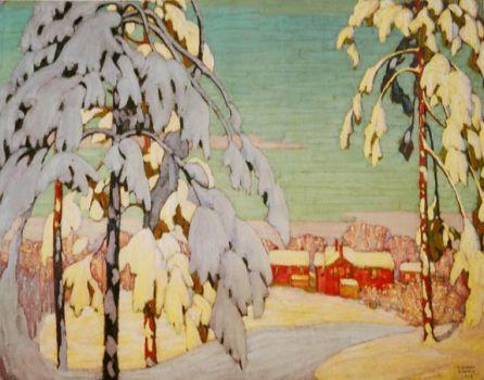 Winter Landscape with Pink House, Lawren Harris 1918