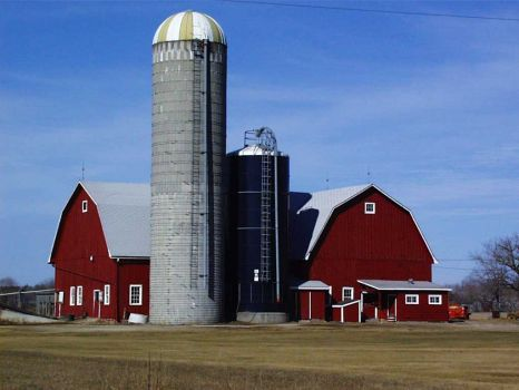 Twin Silo Red Barn
