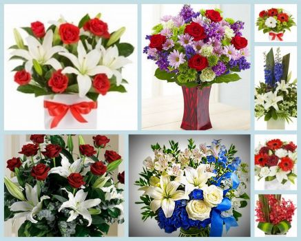 Theme: Red and Blue Floral Arrangements