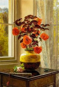 Oriental Poppy and Coleus in a Cloisonné Vase.jpg