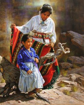 Native Navajo-Warming her child