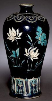 Vase (Meiping) with Blossoming Lotus, China, Jiangxi province, Jingdezhen kilns, Ming dynasty