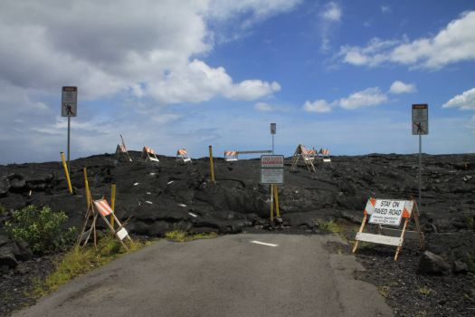 Lava on Road, Puna Area, Big Island, Hawaii