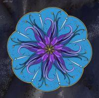 Asymmetrical Mandala in blue & purple.