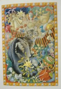 Art - Book - Lesley Anne Ivory Christmas Cats - Octopussy with Christmas Decorations