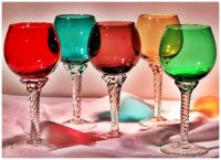 Long Stemmed Blown Glass Wine Goblets
