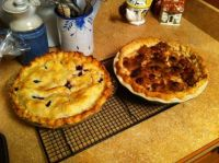 Blueberry and lemon pie, Apple and pecan pie - Yum!
