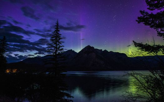 Aurora over Banff National Park. Alberta, CA.