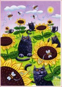 Black Cats Watching Honeybees on Sunflowers Lisa Berkshire