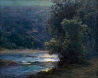 John Ottis Adams - Moonlight on the Whitewater, 1896